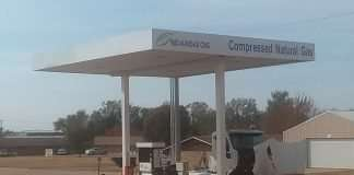 The new CNG station and canopy.