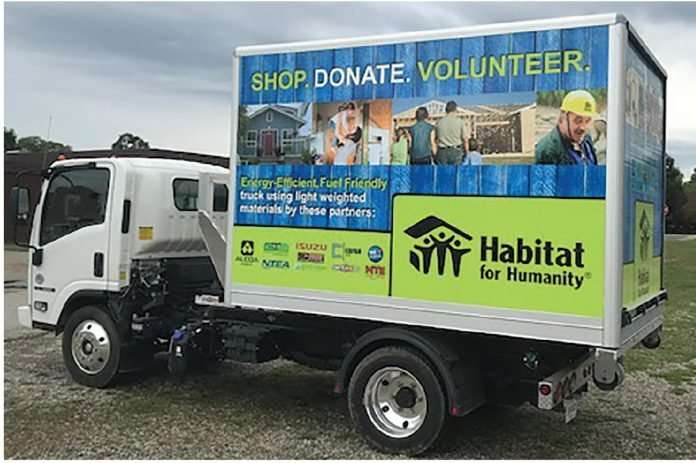 The NTEA's lightweight truck, donated and in use by Habitat for Humanity in Anderson, Indiana.