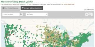 A screenshot of the Station Locator map on the DOE Alternative Fuels Data Center website.