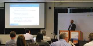 San Diego coalition Co-Coordinator Kevin Wood presents during a workshop on electric vehicle charging for fleet and facility managers (March 2017).