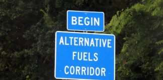 An example of corridor signage that includes EV and propane autogas corridors.