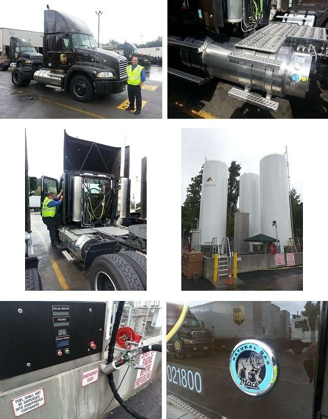 Collage of photos of UPS LNG tractor and refueling equipment
