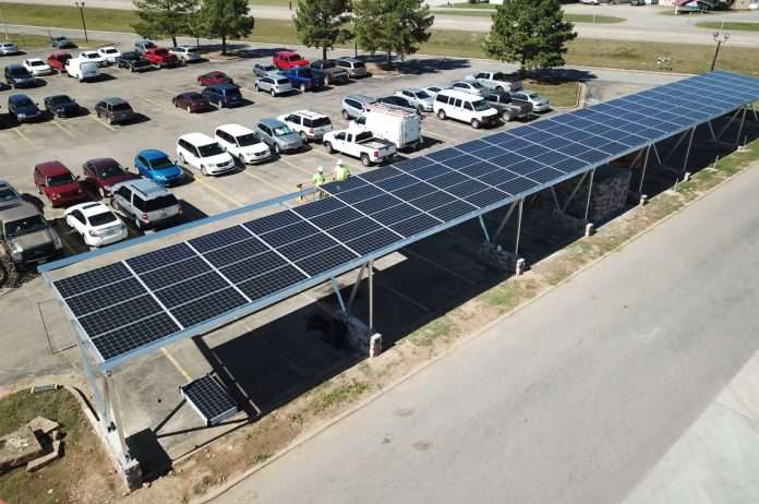 Aerial view of solar canopy charging station
