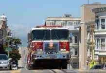 A photo of one of San Franciso's fire trucks that is operating on 100% renewable diesel. Photo curtesy of Reflections Enroute.