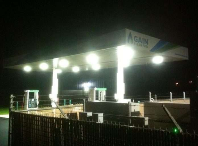 The GAIN CNG station the night of the storm in Arkansas.