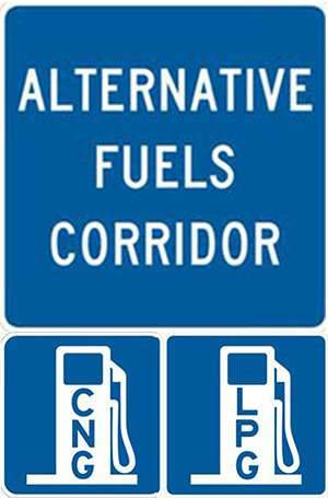 """One large blue square that says """"Alternative Fuels Corridor"""" atop two smaller blue squares with images of gas pumps that read """"CNG"""" and """"LNG"""""""