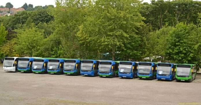 Ten city buses lined up in a parking lot with many green trees behind them
