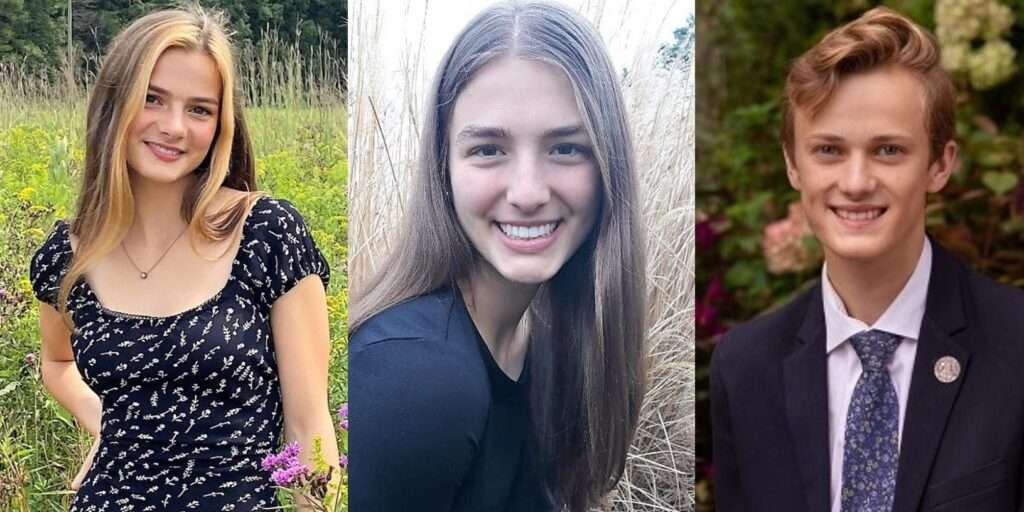 Headshots of Adelaide Young Brust, Lucia Otten, and Quentin Funderberg (left to right).
