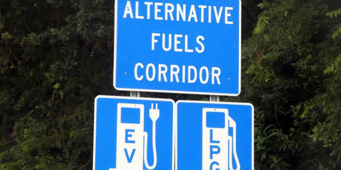 Blue roadside signage with