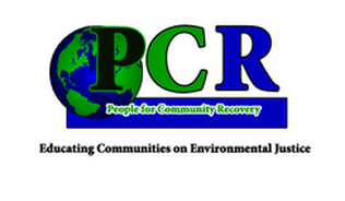 People for Community Recovery Logo (blue, green, and black with globe to the left side)