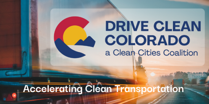 Drive Clean Colorado new navy blue text logo with red, yellow and blue abstract logo to the left. White text at the bottom,