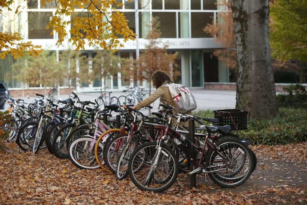 Student parking bike on Vanderbilt campus.