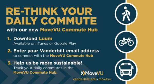 """'Re-think your daily commute with our new MoveVU Commute Hub. 1. Download Luum; 2. Enter your Vanderbilt email address; 3. Helep us to be more sustainable!"""""""