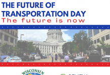 """Top: """"The Future of Transportation Day: The future is now"""" Middle: Image of Wisconsin state Capitol Bottom: Wisconsin Clean Cities logo and Renew Wisconsin logo"""